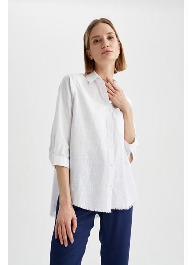 DeFacto Oversize Fit Tek Cepli Tunik Gömlek Beyaz